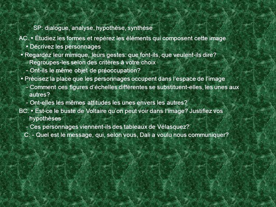 SP: dialogue, analyse, hypothèse, synthèse AC.