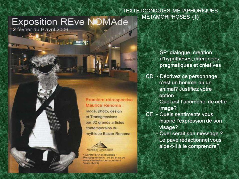 TEXTE ICONIQUES MÉTAPHORIQUES MÉTAMORPHOSES (1) SP: dialogue, création dhypothèses, inférences pragmatiques et créatives CD.
