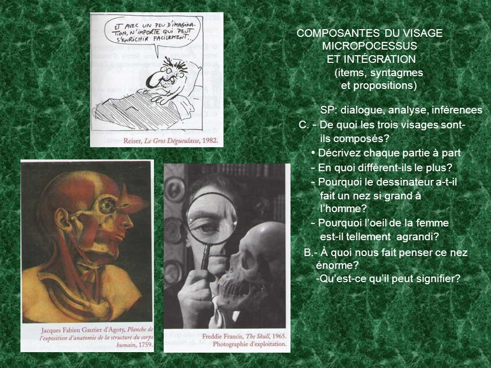 COMPOSANTES DU VISAGE MICROPOCESSUS ET INTÉGRATION (items, syntagmes et propositions) C.