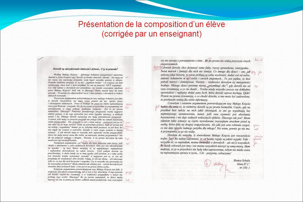 Présentation de la composition dun élève (corrigée par un enseignant)