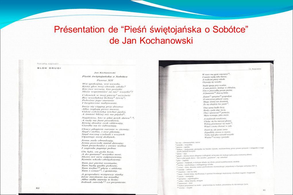 Présentation de Pieśń świętojańska o Sobótce de Jan Kochanowski