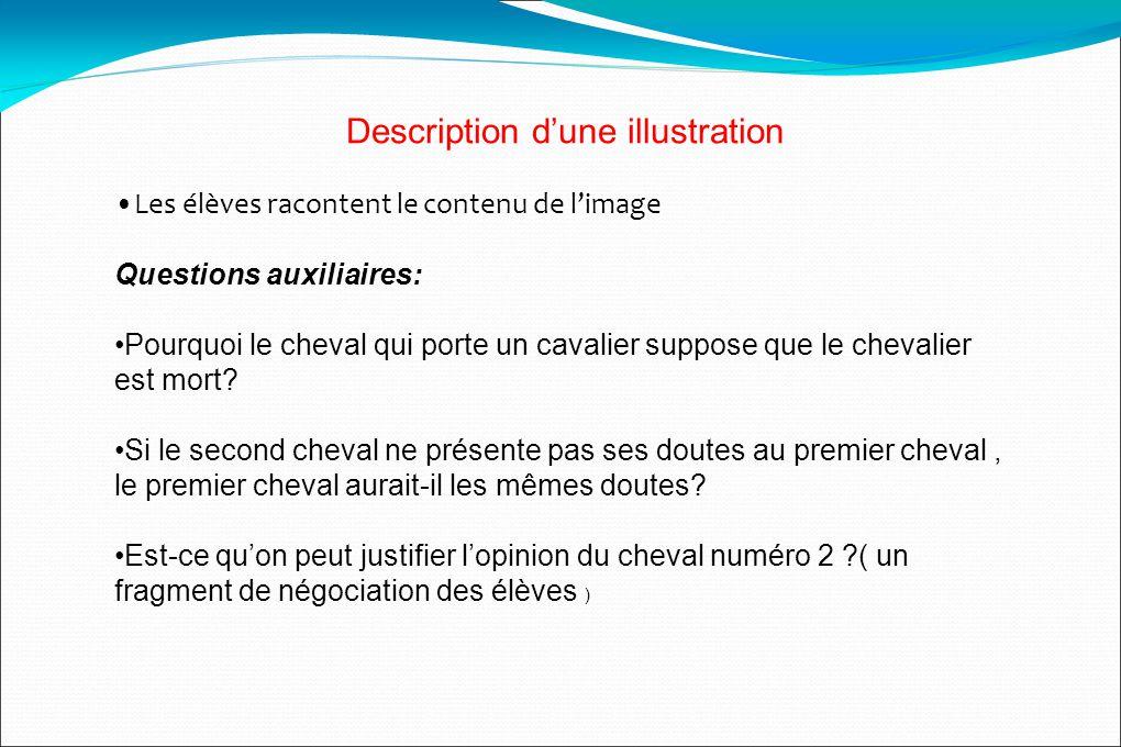 Description dune illustration Les élèves racontent le contenu de limage Questions auxiliaires: Pourquoi le cheval qui porte un cavalier suppose que le chevalier est mort.