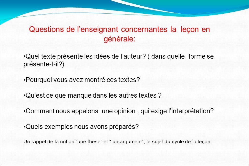 Questions de lenseignant concernantes la leçon en générale: Quel texte présente les idées de lauteur.