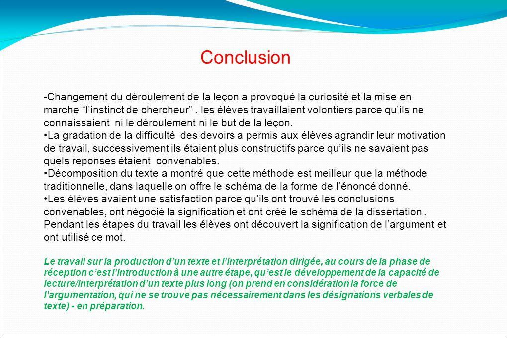 Conclusion -Changement du déroulement de la leçon a provoqué la curiosité et la mise en marche linstinct de chercheur.