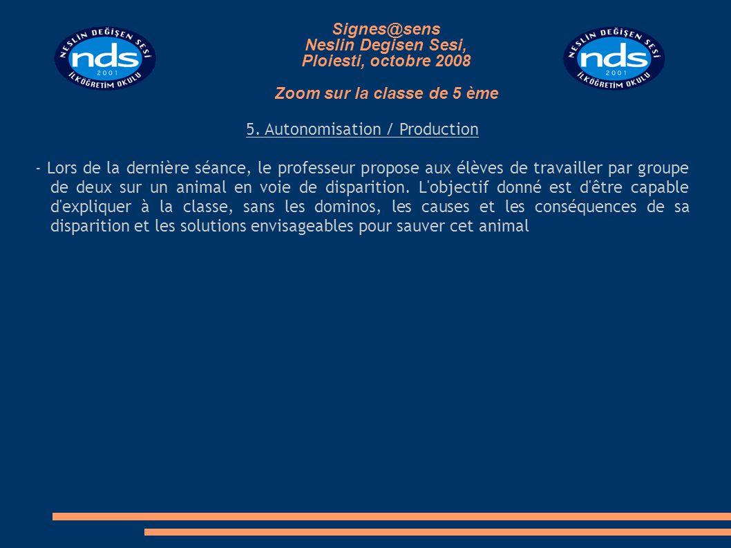 5. Autonomisation / Production - Lors de la dernière séance, le professeur propose aux élèves de travailler par groupe de deux sur un animal en voie d