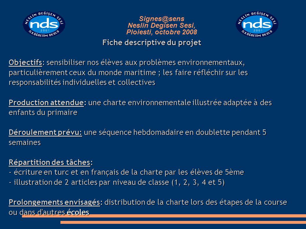Signes@sens Neslin Degisen Sesi, Ploiesti, octobre 2008 Fiche descriptive du projet Objectifs: sensibiliser nos élèves aux problèmes environnementaux,