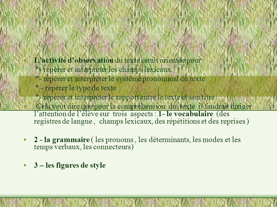 Lactivité dobservation du texte serait orientée pour: *- repérer et interpréter les champs lexicaux *- repérer et interpréter le système pronominal du