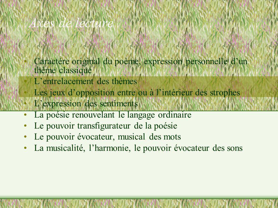 Axes de lecture Caractère original du poème, expression personnelle dun thème classique Lentrelacement des thèmes Les jeux dopposition entre ou à lint