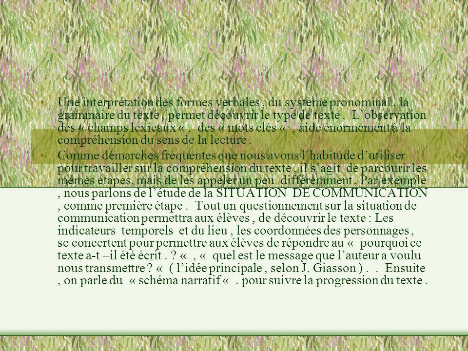 Une interprétation des formes verbales, du système pronominal, la grammaire du texte, permet découvrir le type de texte. Lobservation des « champs lex