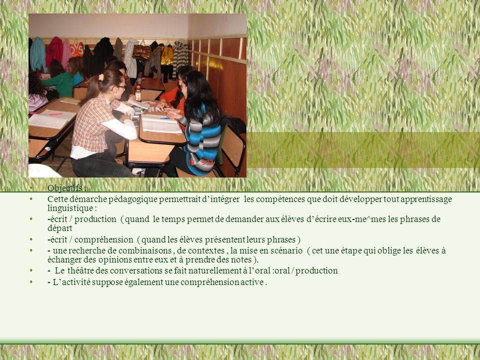 Objectifs : Cette démarche pédagogique permettrait dintégrer les compétences que doit développer tout apprentissage linguistique : -écrit / production