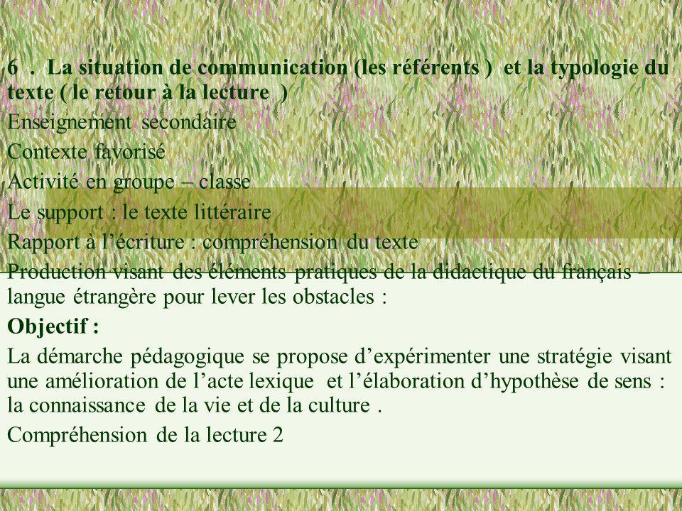 6. La situation de communication (les référents ) et la typologie du texte ( le retour à la lecture ) Enseignement secondaire Contexte favorisé Activi