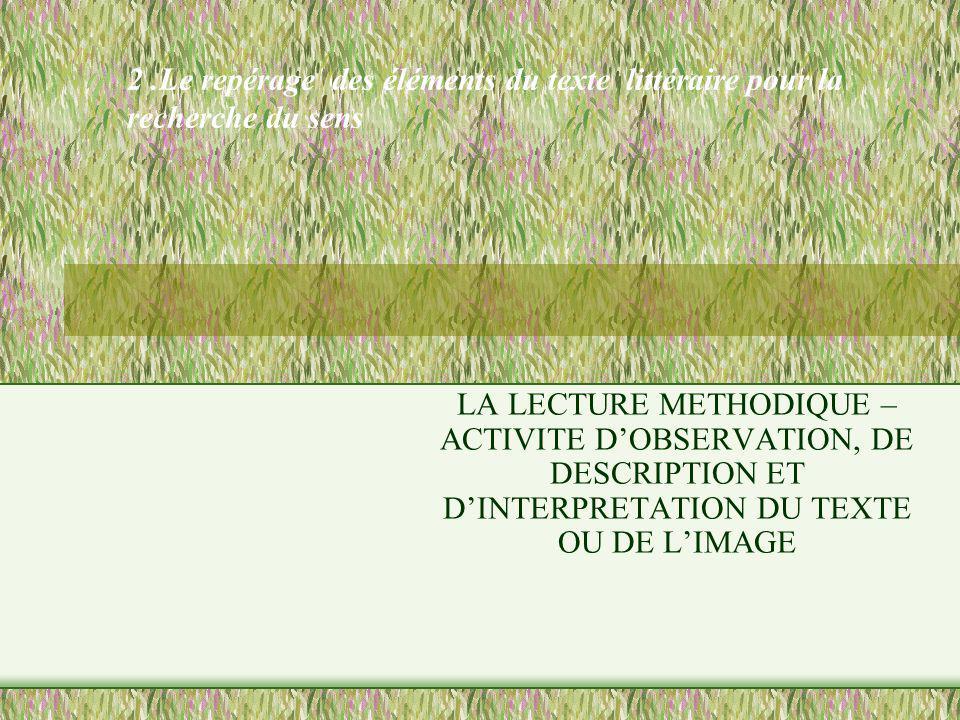 2.Le repérage des éléments du texte littéraire pour la recherche du sens LA LECTURE METHODIQUE – ACTIVITE DOBSERVATION, DE DESCRIPTION ET DINTERPRETAT