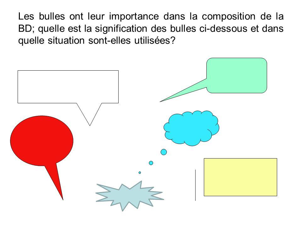 Les bulles ont leur importance dans la composition de la BD; quelle est la signification des bulles ci-dessous et dans quelle situation sont-elles utilisées?
