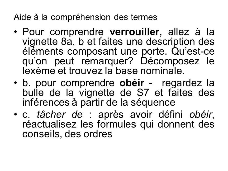 Aide à la compréhension des termes Pour comprendre verrouiller, allez à la vignette 8a, b et faites une description des éléments composant une porte.