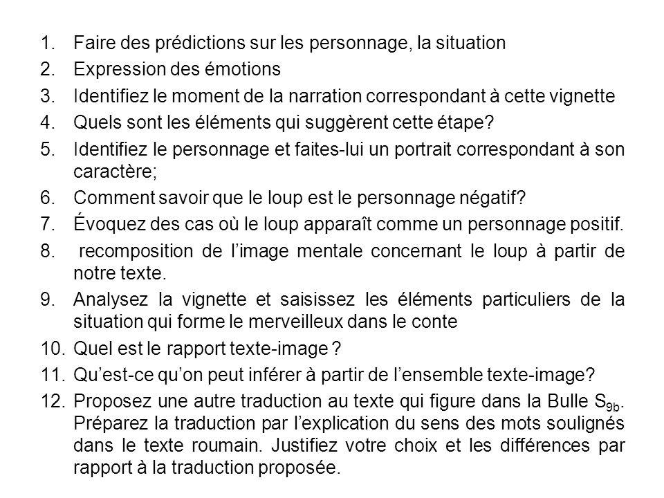 1.Faire des prédictions sur les personnage, la situation 2.Expression des émotions 3.Identifiez le moment de la narration correspondant à cette vignette 4.Quels sont les éléments qui suggèrent cette étape.