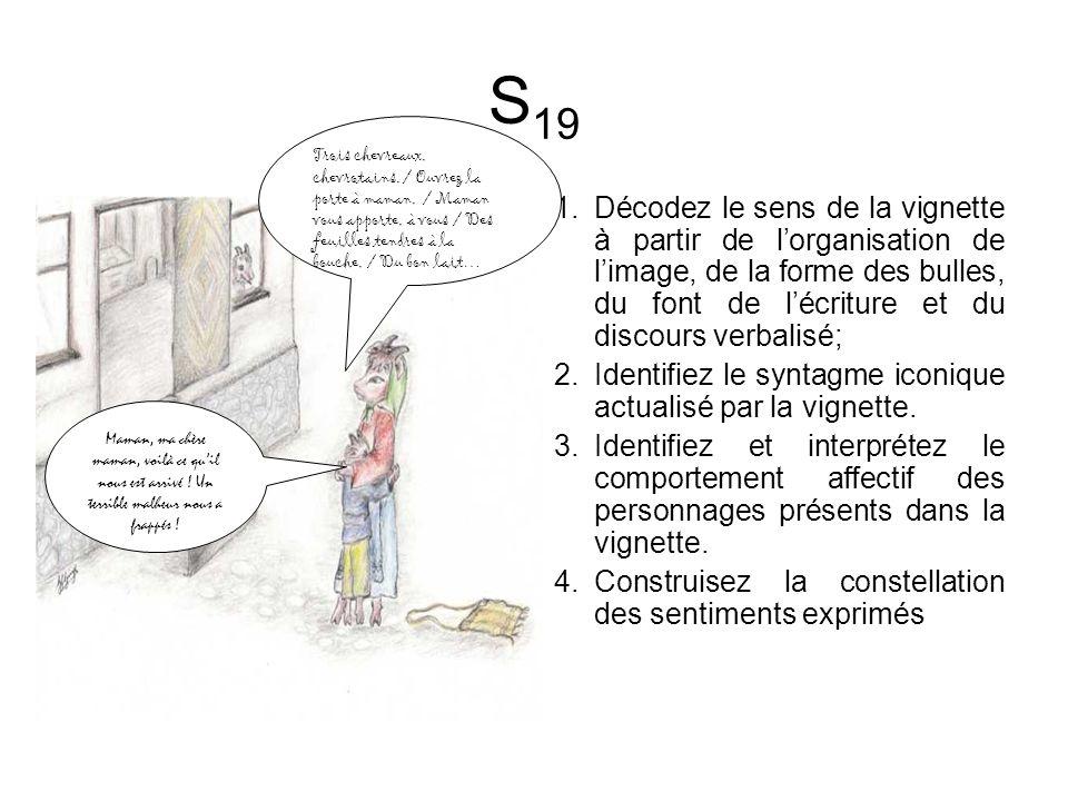 S 19 1.Décodez le sens de la vignette à partir de lorganisation de limage, de la forme des bulles, du font de lécriture et du discours verbalisé; 2.Identifiez le syntagme iconique actualisé par la vignette.