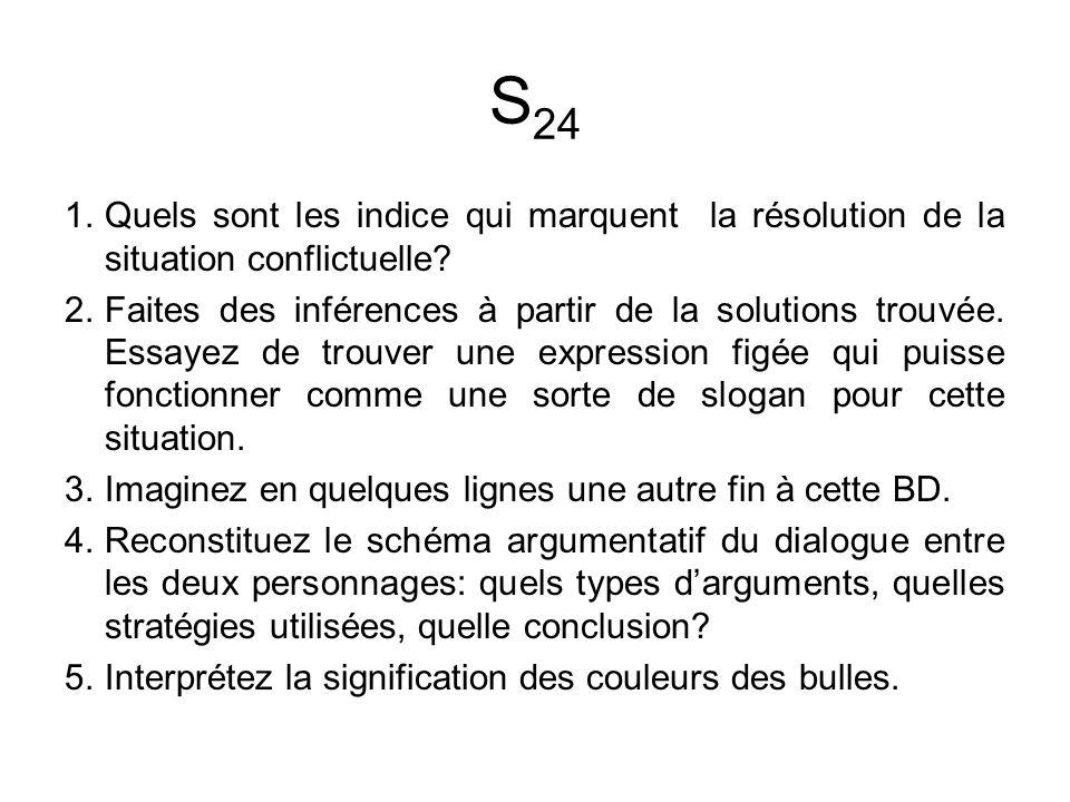 S 24 1.Quels sont les indice qui marquent la résolution de la situation conflictuelle.