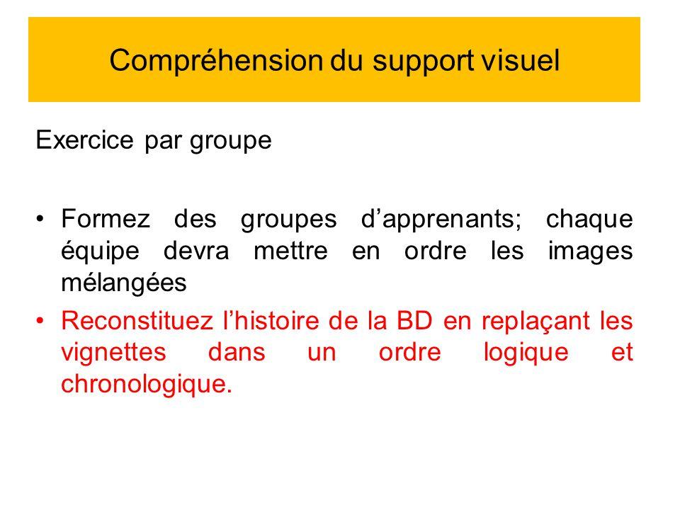 Exercice par groupe Formez des groupes dapprenants; chaque équipe devra mettre en ordre les images mélangées Reconstituez lhistoire de la BD en replaçant les vignettes dans un ordre logique et chronologique.