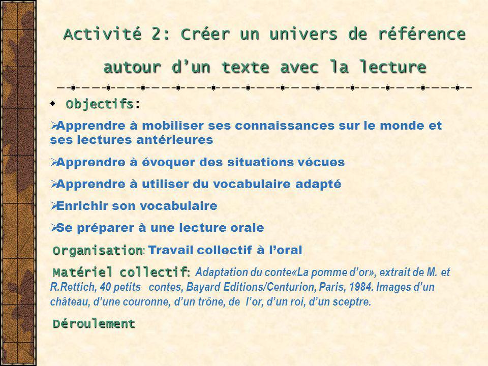 Activité 2: Créer un univers de référence autour dun texte avec la lecture Objectifs Objectifs: Apprendre à mobiliser ses connaissances sur le monde e