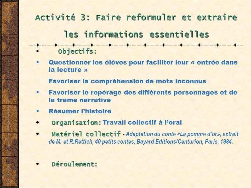 Activité 3: Faire reformuler et extraire les informations essentielles Objectifs: Questionner les élèves pour faciliter leur « entrée dans la lecture