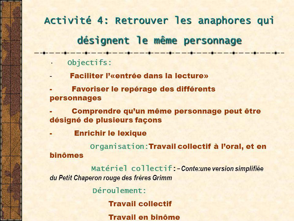 Activité 4: Retrouver les anaphores qui désignent le même personnage · Objectifs: - Faciliter l«entrée dans la lecture» - Favoriser le repérage des di