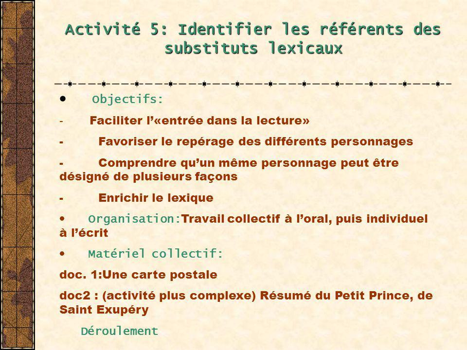 Activité 5: Identifier les référents des substituts lexicaux Objectifs: - Faciliter l«entrée dans la lecture» - Favoriser le repérage des différents p
