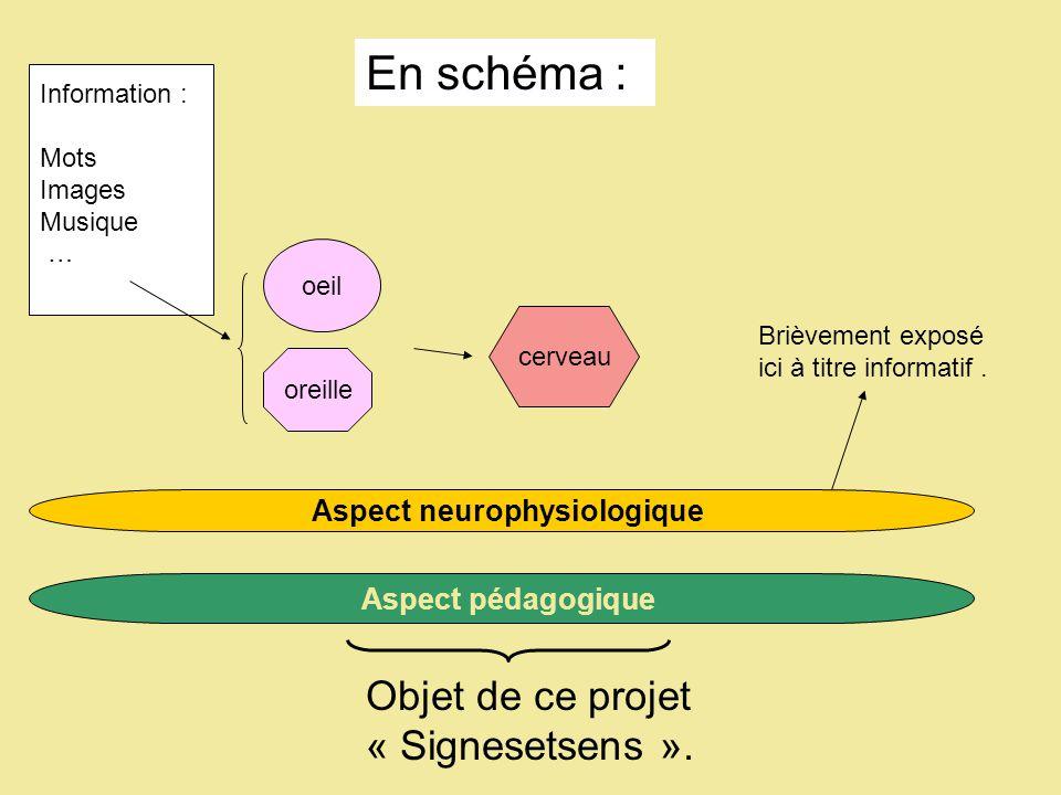 Information : Mots Images Musique … oeil cerveau Aspect neurophysiologique Aspect pédagogique oreille Objet de ce projet « Signesetsens ».