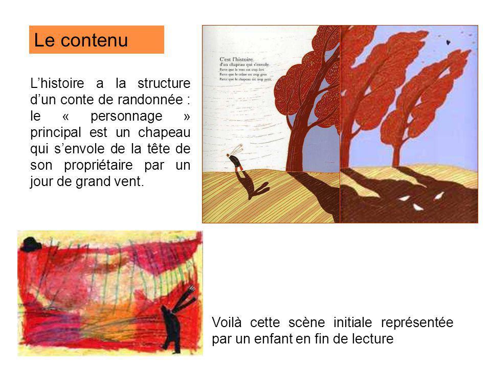 Le contenu Lhistoire a la structure dun conte de randonnée : le « personnage » principal est un chapeau qui senvole de la tête de son propriétaire par
