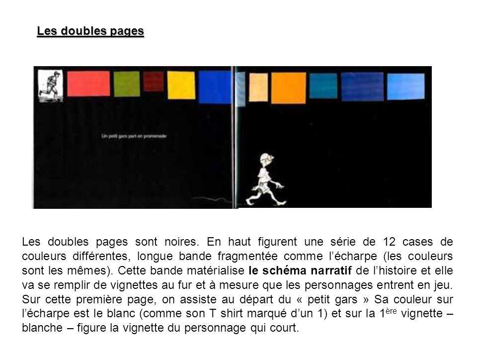 Les doubles pages Les doubles pages sont noires. En haut figurent une série de 12 cases de couleurs différentes, longue bande fragmentée comme lécharp