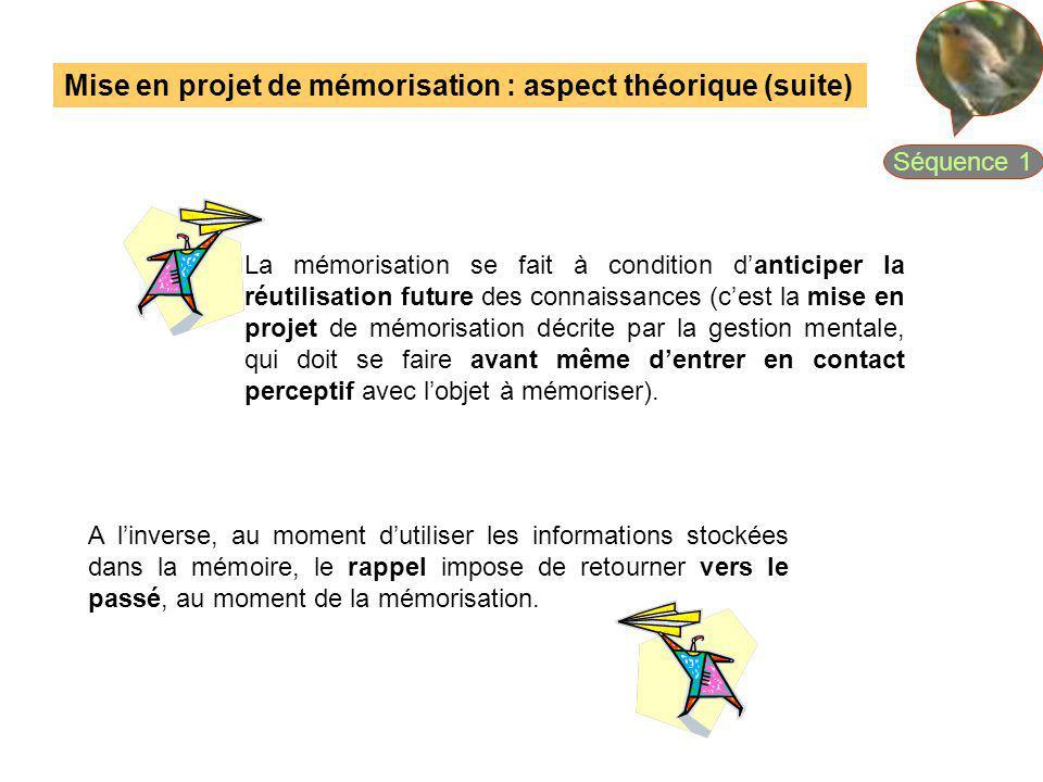 La mémorisation se fait à condition danticiper la réutilisation future des connaissances (cest la mise en projet de mémorisation décrite par la gestio