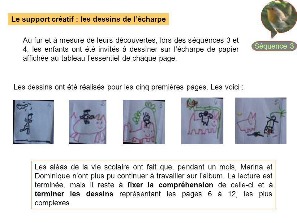 Le support créatif : les dessins de lécharpe Au fur et à mesure de leurs découvertes, lors des séquences 3 et 4, les enfants ont été invités à dessine