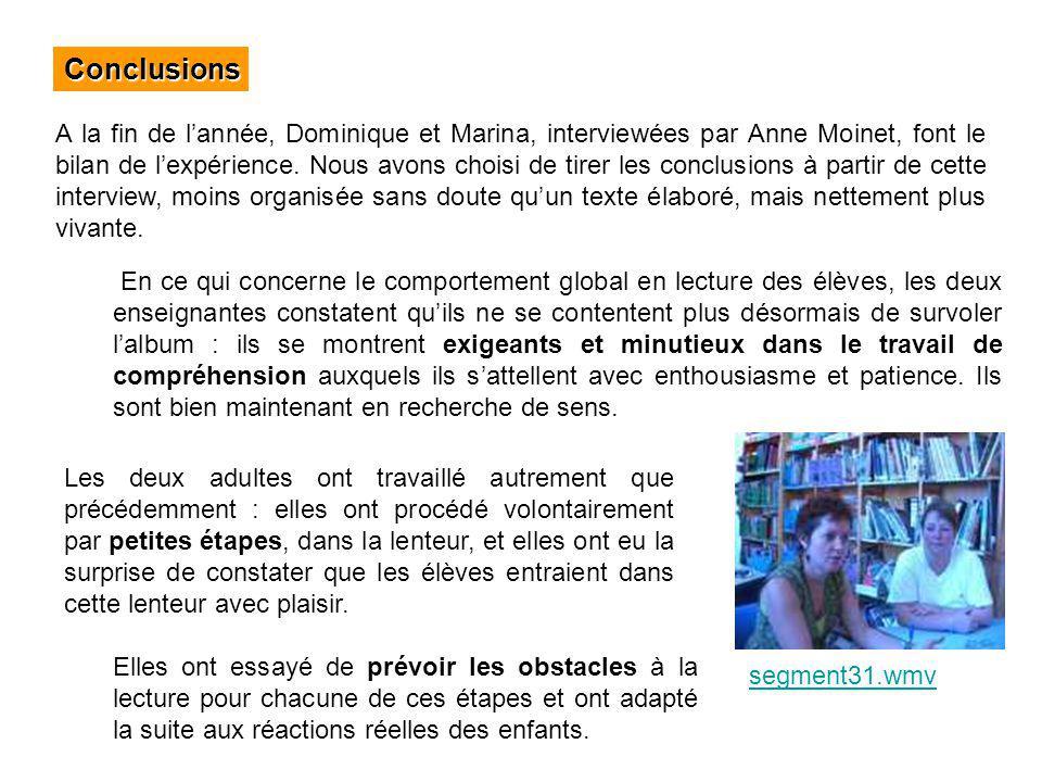 Conclusions A la fin de lannée, Dominique et Marina, interviewées par Anne Moinet, font le bilan de lexpérience. Nous avons choisi de tirer les conclu