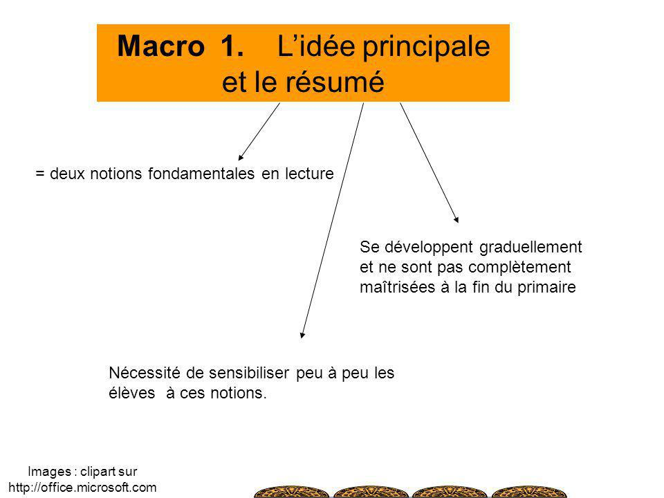 Macro 1. Lidée principale et le résumé = deux notions fondamentales en lecture Se développent graduellement et ne sont pas complètement maîtrisées à l