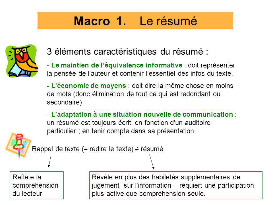 Macro 1. Le résumé 3 éléments caractéristiques du résumé : - Le maintien de léquivalence informative : doit représenter la pensée de lauteur et conten