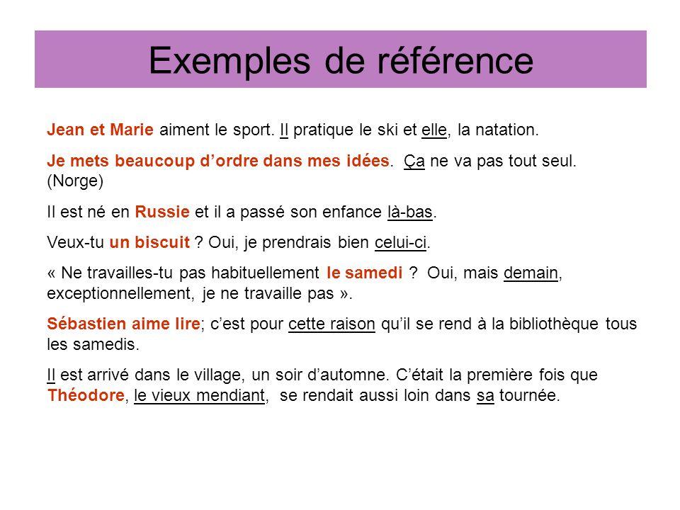 Exemples de référence Jean et Marie aiment le sport.