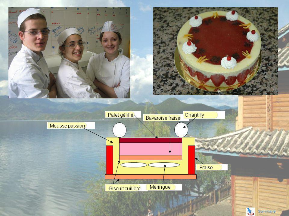 Sommaire Palet gélifié Mousse passion Bavaroise fraise Biscuit cuillère Fraise Meringue Chantilly