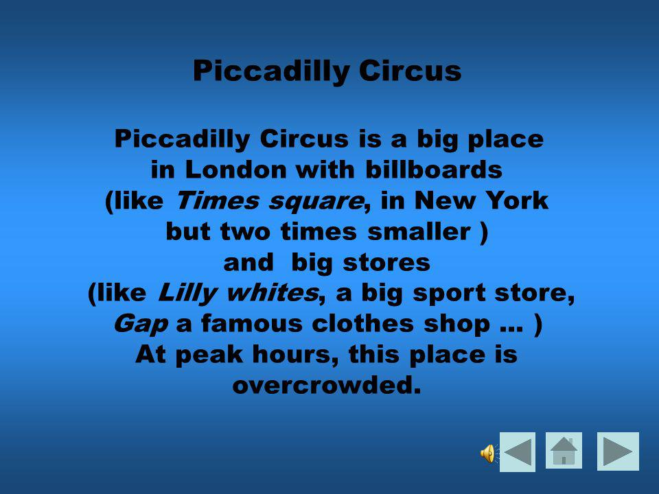 PICCADILLY CIRCUS Description écrite Description audio