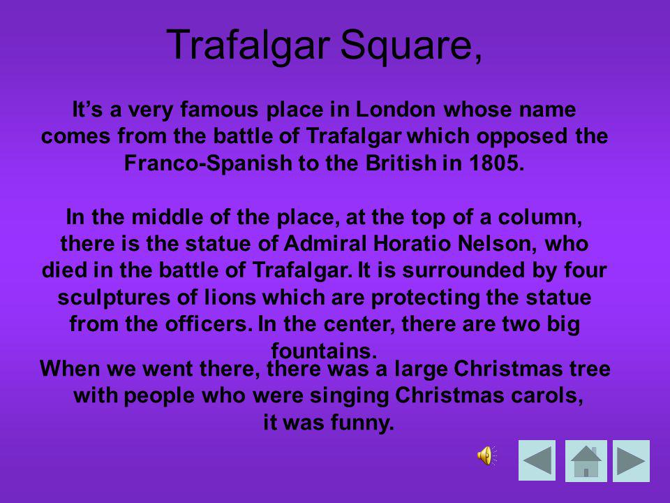 Trafalgar square Description écrite Description audio