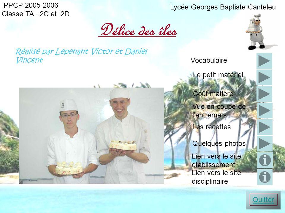 PPCP 2005-2006 Délice des îles Classe TAL 2C et 2D Réalisé par Lepenant Victor et Daniel Vincent Les recettes Quelques photos Vue en coupe de lentreme