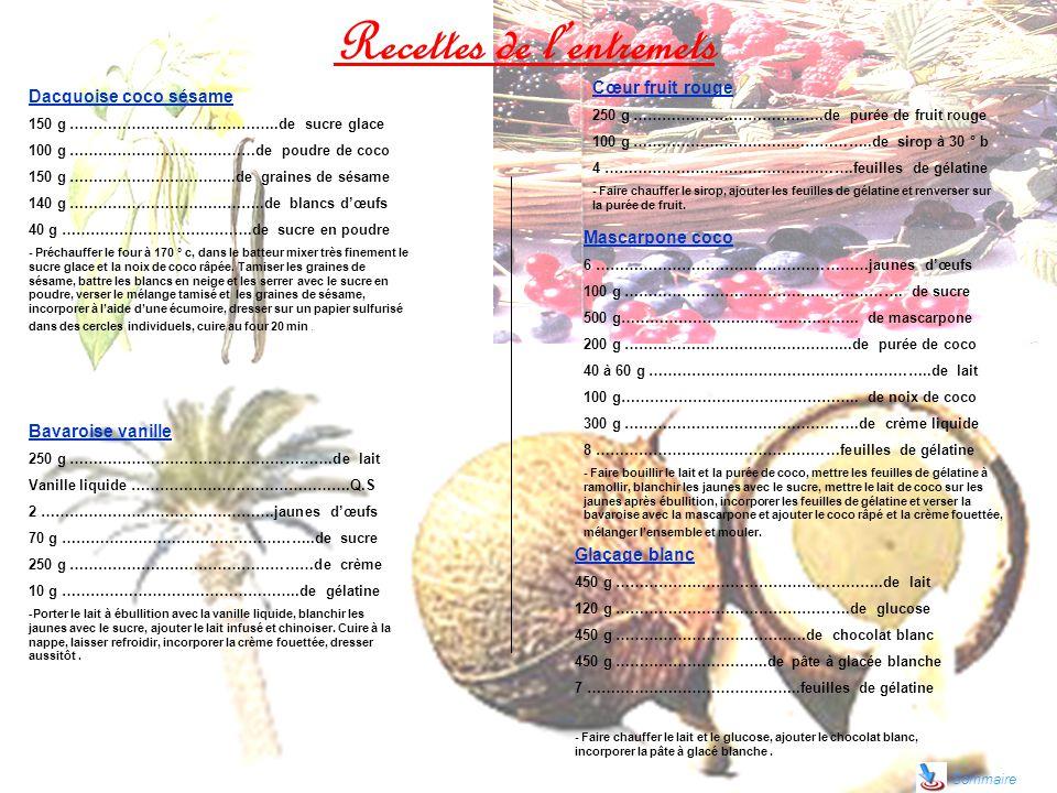 Recettes de lentremets Sommaire Dacquoise coco sésame 150 g ……………………………………..de sucre glace 100 g …………………………………de poudre de coco 150 g ……………………………..de