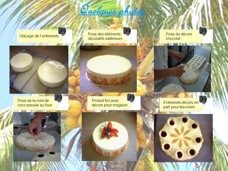 Quelques photos Sommaire Glaçage de lentremets Pose des éléments décoratifs extérieurs Pose du décors chocolat Pose de la noix de coco passée au four