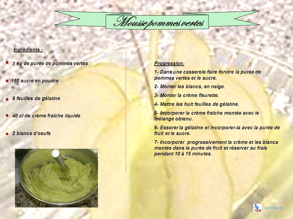 Sommaire Mousse pommes vertes 1 kg de purée de pommes vertes 150 sucre en poudre 8 feuilles de gélatine 40 cl de crème fraîche liquide 2 blancs doeufs