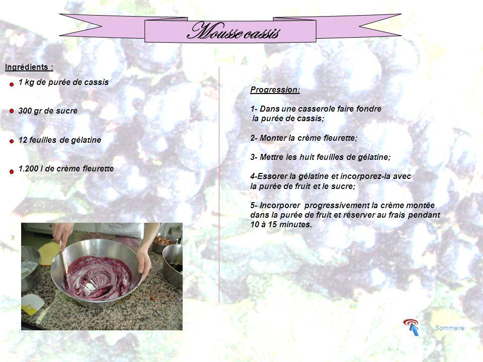 Sommaire Mousse cassis Ingrédients : 1 kg de purée de cassis 300 gr de sucre 12 feuilles de gélatine 1.200 l de crème fleurette Progression: 1- Dans u