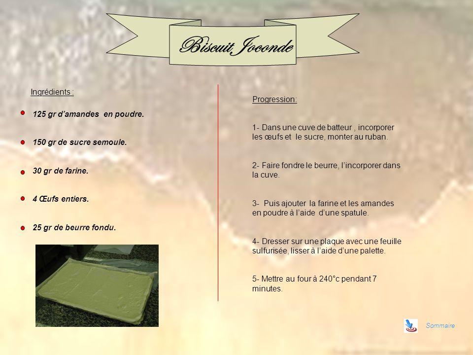 Sommaire Biscuit Joconde Progression: 1- Dans une cuve de batteur, incorporer les œufs et le sucre, monter au ruban. 2- Faire fondre le beurre, lincor