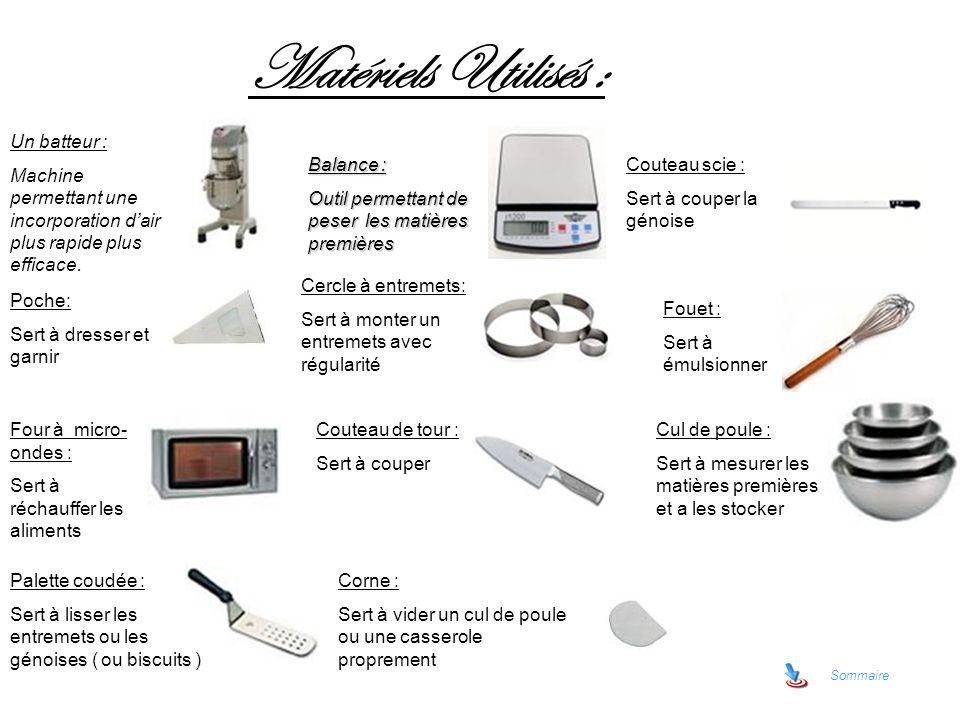 Sommaire Matériels Utilisés : Un batteur : Machine permettant une incorporation dair plus rapide plus efficace. Balance : Outil permettant de peser le