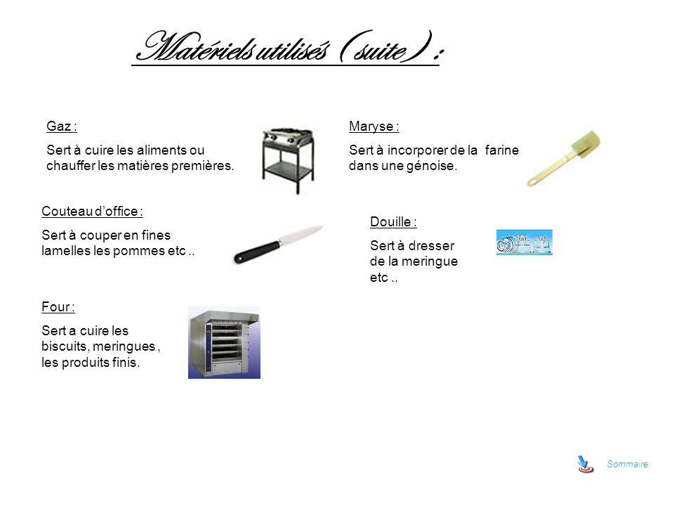 Sommaire Matériels utilisés ( suite ) : Gaz : Sert à cuire les aliments ou chauffer les matières premières. Maryse : Sert à incorporer de la farine da