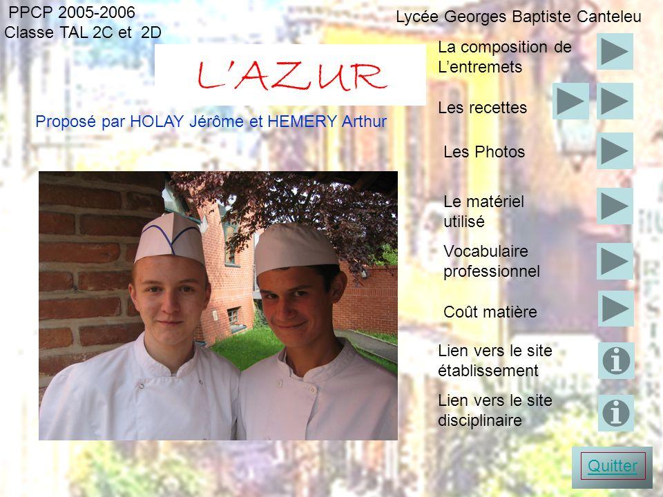 PPCP 2005-2006 LAZUR Classe TAL 2C et 2D Proposé par HOLAY Jérôme et HEMERY Arthur Photo entremets Le matériel utilisé Vocabulaire professionnel Les P