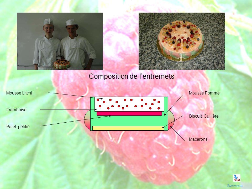 Sommaire Mousse Litchi Framboise Palet gélifié Mousse Pomme Biscuit Cuillère Composition de lentremets Macarons