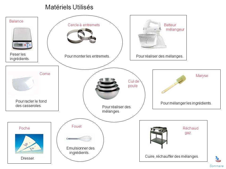 Matériels Utilisés Peser les ingrédients. Pour monter les entremets.Pour réaliser des mélanges. Pour racler le fond des casseroles. Pour réaliser des