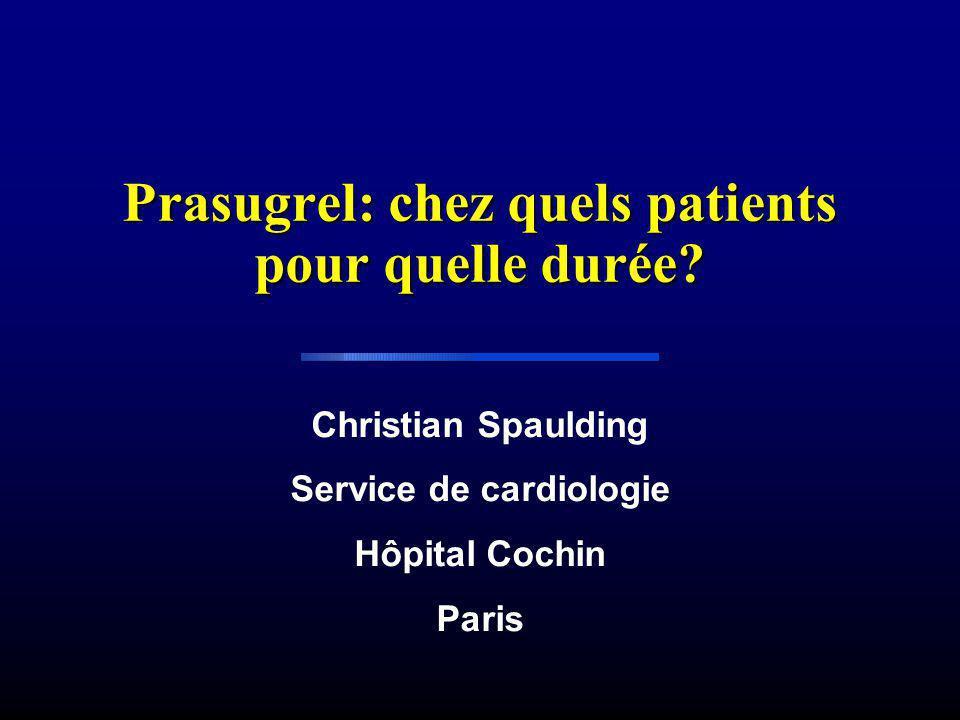 Prasugrel: chez quels patients pour quelle durée? Christian Spaulding Service de cardiologie Hôpital Cochin Paris